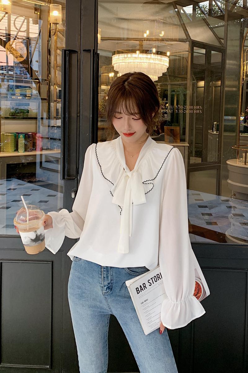 韓国 ファッション トップス ブラウス シャツ 春 夏 秋 カジュアル PTXJ558  シフォン シアー バイカラー ボウタイ 着回し オルチャン シンプル 定番 セレカジの写真6枚目