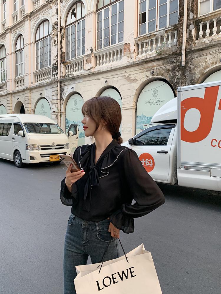韓国 ファッション トップス ブラウス シャツ 春 夏 秋 カジュアル PTXJ558  シフォン シアー バイカラー ボウタイ 着回し オルチャン シンプル 定番 セレカジの写真10枚目