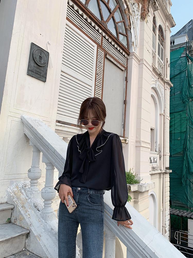韓国 ファッション トップス ブラウス シャツ 春 夏 秋 カジュアル PTXJ558  シフォン シアー バイカラー ボウタイ 着回し オルチャン シンプル 定番 セレカジの写真11枚目