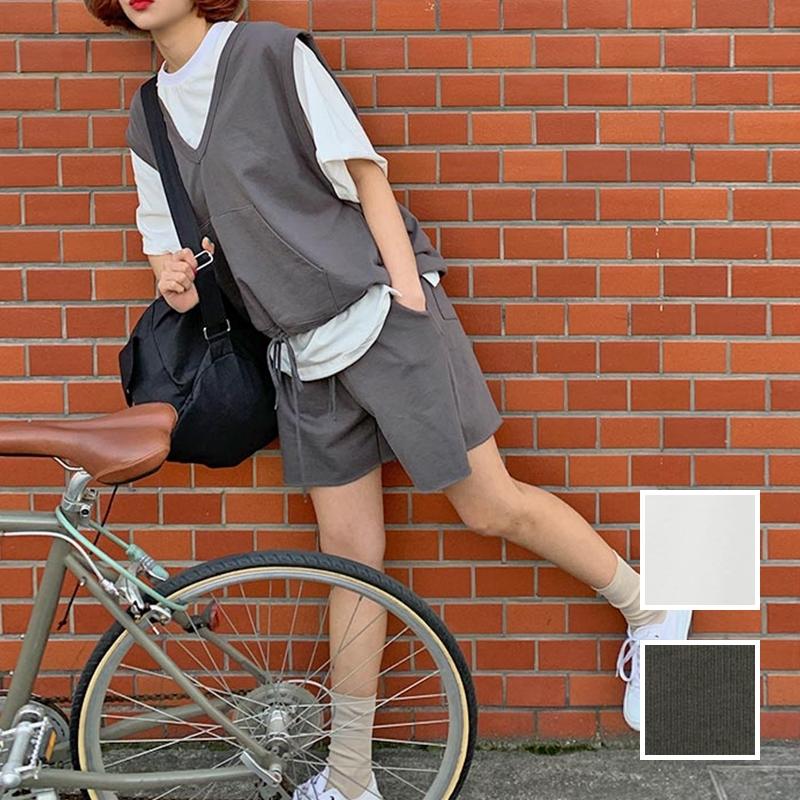 韓国 ファッション セットアップ 春 夏 秋 カジュアル PTXJ567  オーバーサイズ ベスト ショートパンツ オルチャン シンプル 定番 セレカジの写真1枚目
