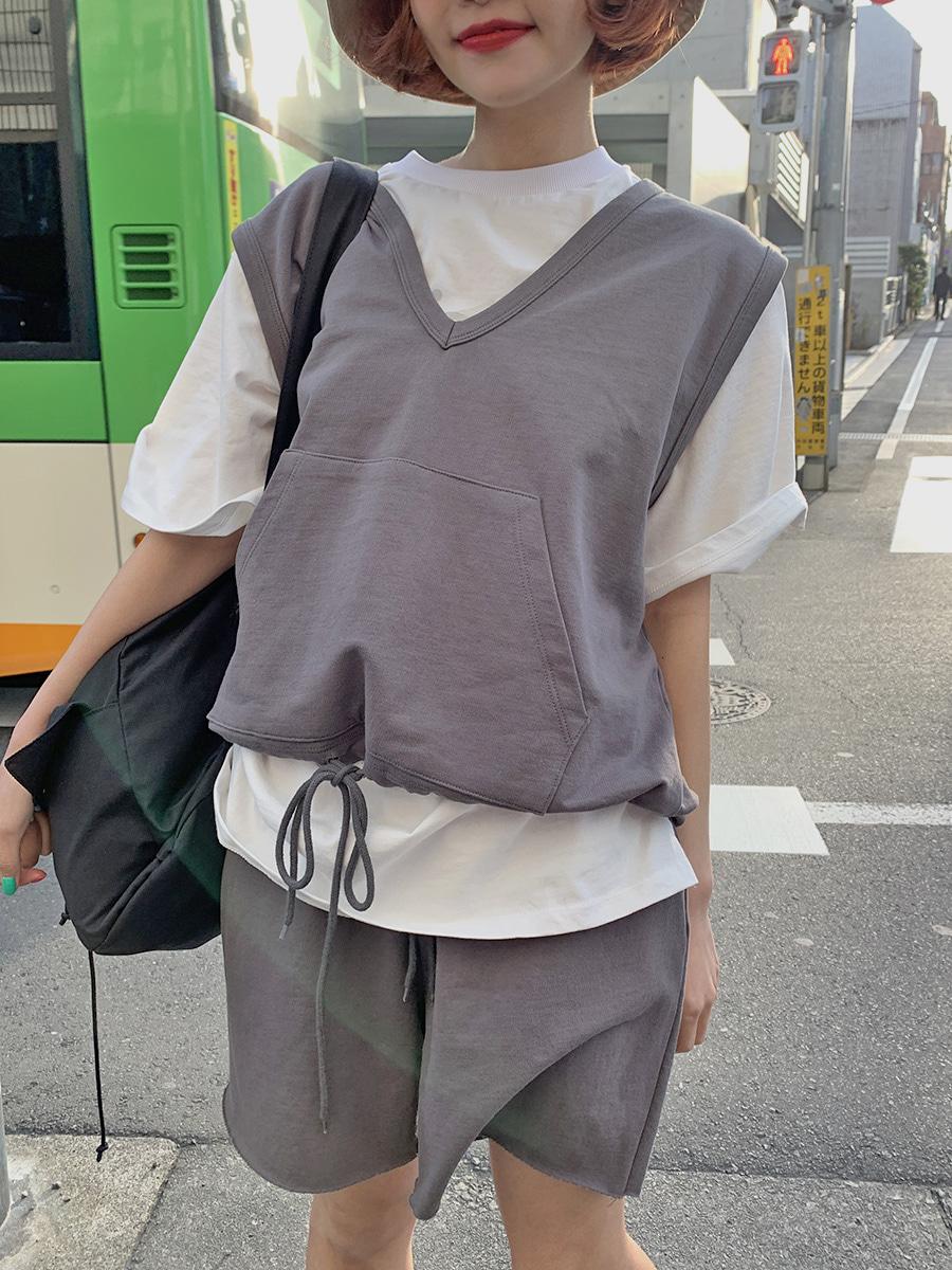 韓国 ファッション セットアップ 春 夏 秋 カジュアル PTXJ567  オーバーサイズ ベスト ショートパンツ オルチャン シンプル 定番 セレカジの写真2枚目