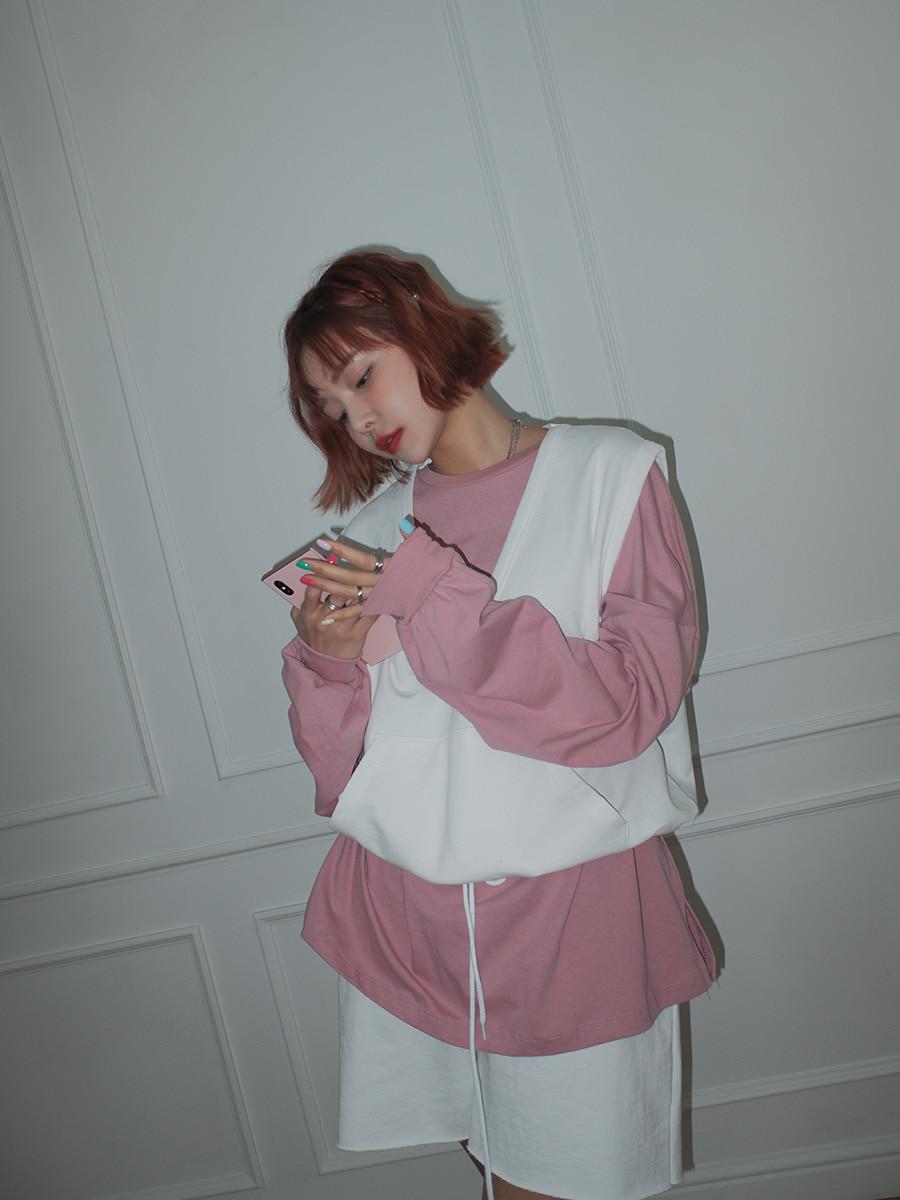 韓国 ファッション セットアップ 春 夏 秋 カジュアル PTXJ567  オーバーサイズ ベスト ショートパンツ オルチャン シンプル 定番 セレカジの写真5枚目