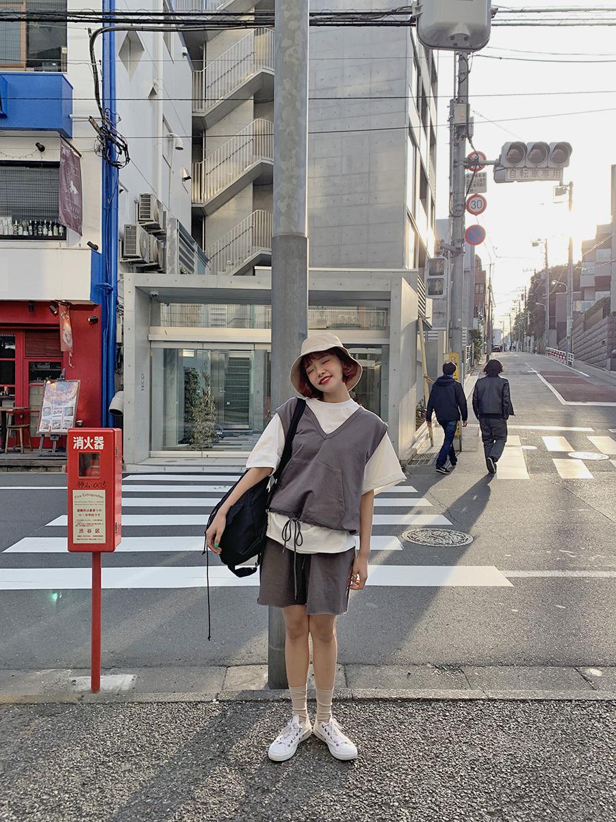 韓国 ファッション セットアップ 春 夏 秋 カジュアル PTXJ567  オーバーサイズ ベスト ショートパンツ オルチャン シンプル 定番 セレカジの写真10枚目