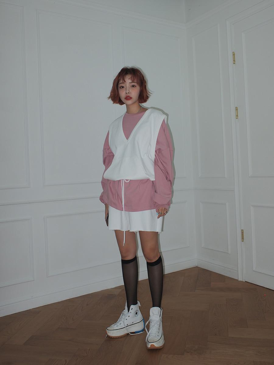 韓国 ファッション セットアップ 春 夏 秋 カジュアル PTXJ567  オーバーサイズ ベスト ショートパンツ オルチャン シンプル 定番 セレカジの写真13枚目