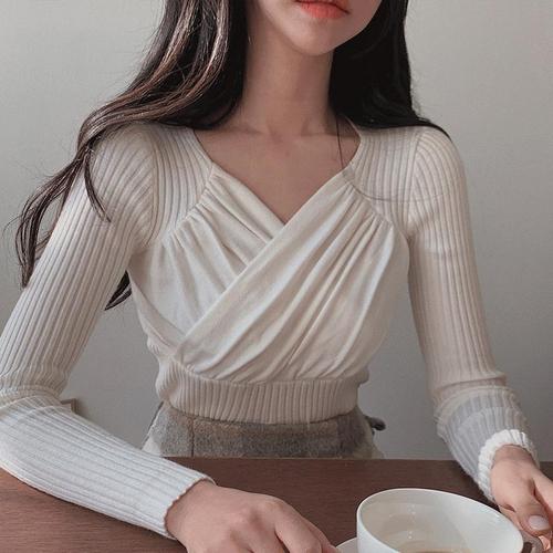 韓国 ファッション トップス ニット セーター 春 夏 秋 カジュアル PTXJ581  カシュクール リブニット ハイウエスト Vネック オルチャン シンプル 定番 セレカジの写真4枚目