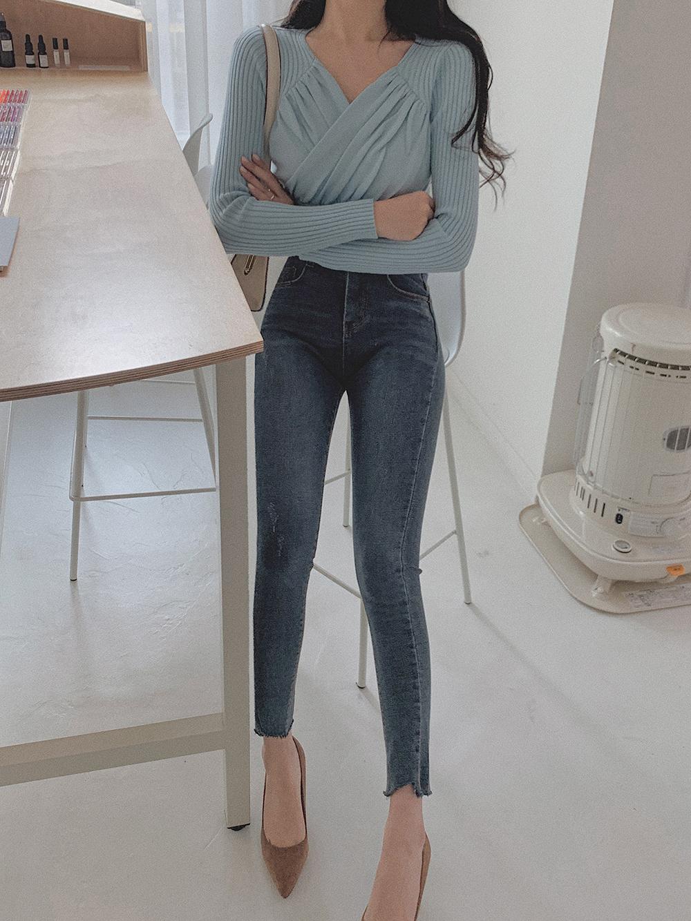 韓国 ファッション トップス ニット セーター 春 夏 秋 カジュアル PTXJ581  カシュクール リブニット ハイウエスト Vネック オルチャン シンプル 定番 セレカジの写真9枚目