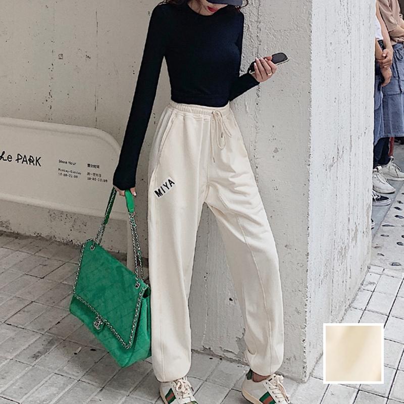 韓国 ファッション パンツ ボトムス 春 夏 カジュアル PTXJ586  ワイド 裾リブ ゆったり スウェット 着回し オルチャン シンプル 定番 セレカジの写真1枚目