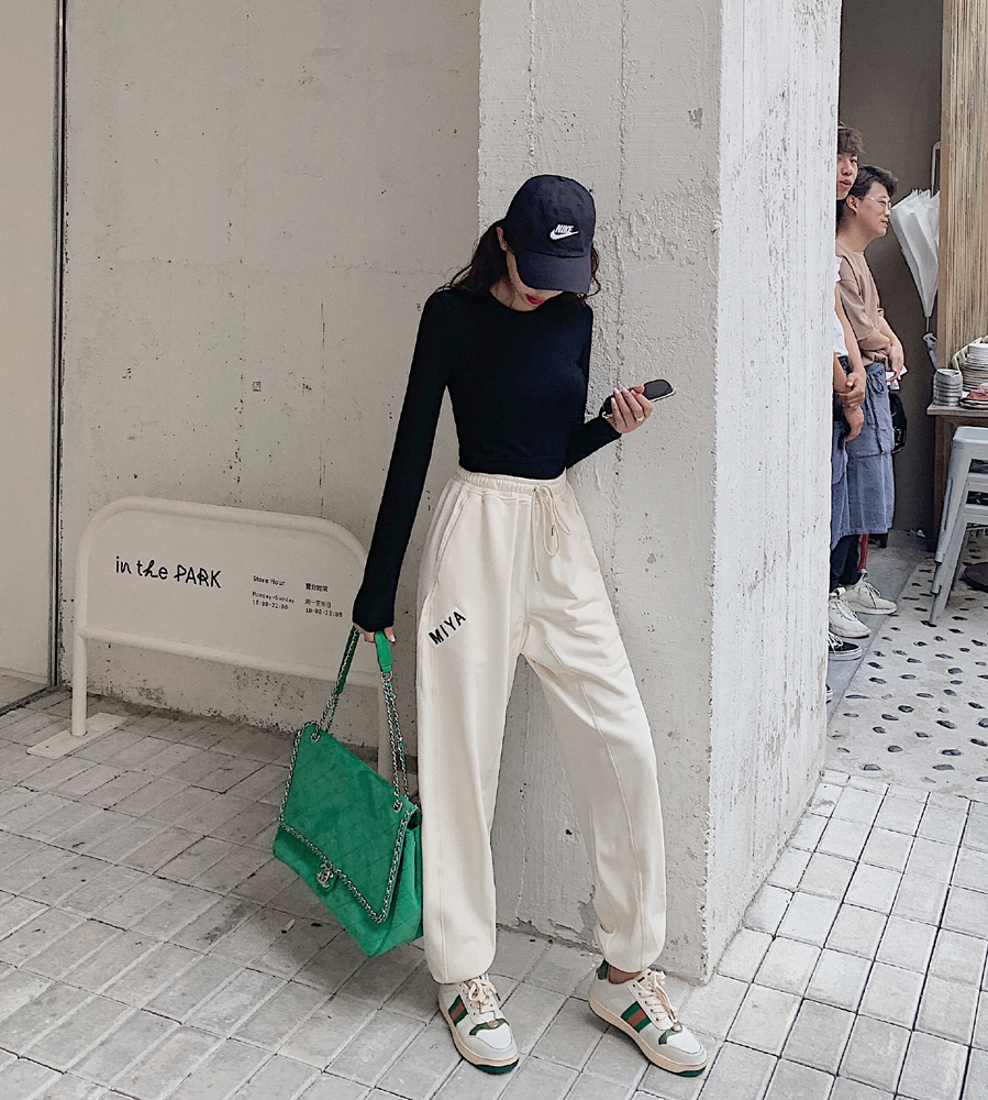 韓国 ファッション パンツ ボトムス 春 夏 カジュアル PTXJ586  ワイド 裾リブ ゆったり スウェット 着回し オルチャン シンプル 定番 セレカジの写真2枚目