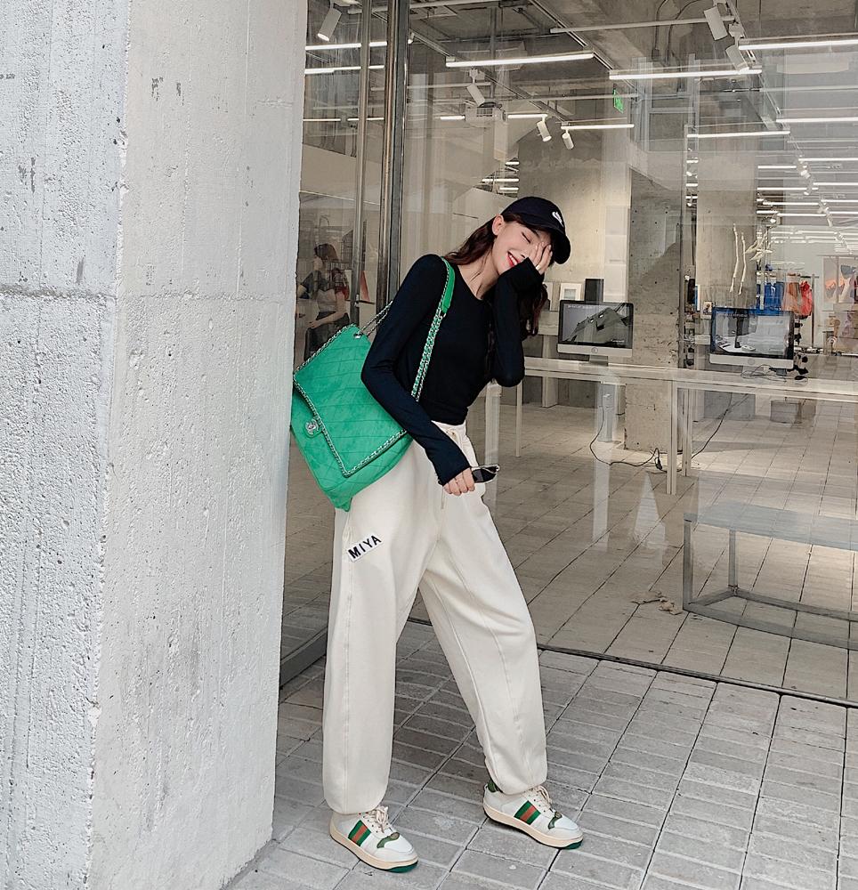 韓国 ファッション パンツ ボトムス 春 夏 カジュアル PTXJ586  ワイド 裾リブ ゆったり スウェット 着回し オルチャン シンプル 定番 セレカジの写真4枚目