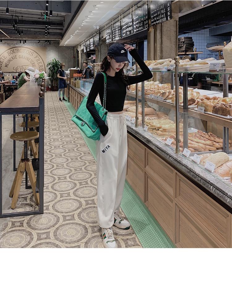 韓国 ファッション パンツ ボトムス 春 夏 カジュアル PTXJ586  ワイド 裾リブ ゆったり スウェット 着回し オルチャン シンプル 定番 セレカジの写真6枚目