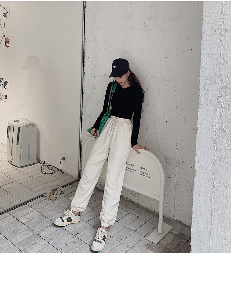 韓国 ファッション パンツ ボトムス 春 夏 カジュアル PTXJ586  ワイド 裾リブ ゆったり スウェット 着回し オルチャン シンプル 定番 セレカジの写真8枚目