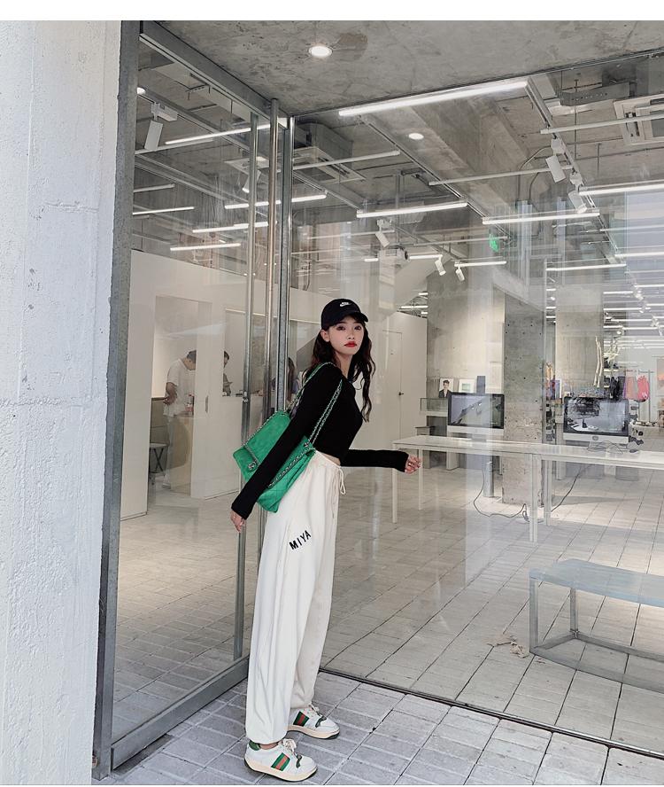 韓国 ファッション パンツ ボトムス 春 夏 カジュアル PTXJ586  ワイド 裾リブ ゆったり スウェット 着回し オルチャン シンプル 定番 セレカジの写真11枚目