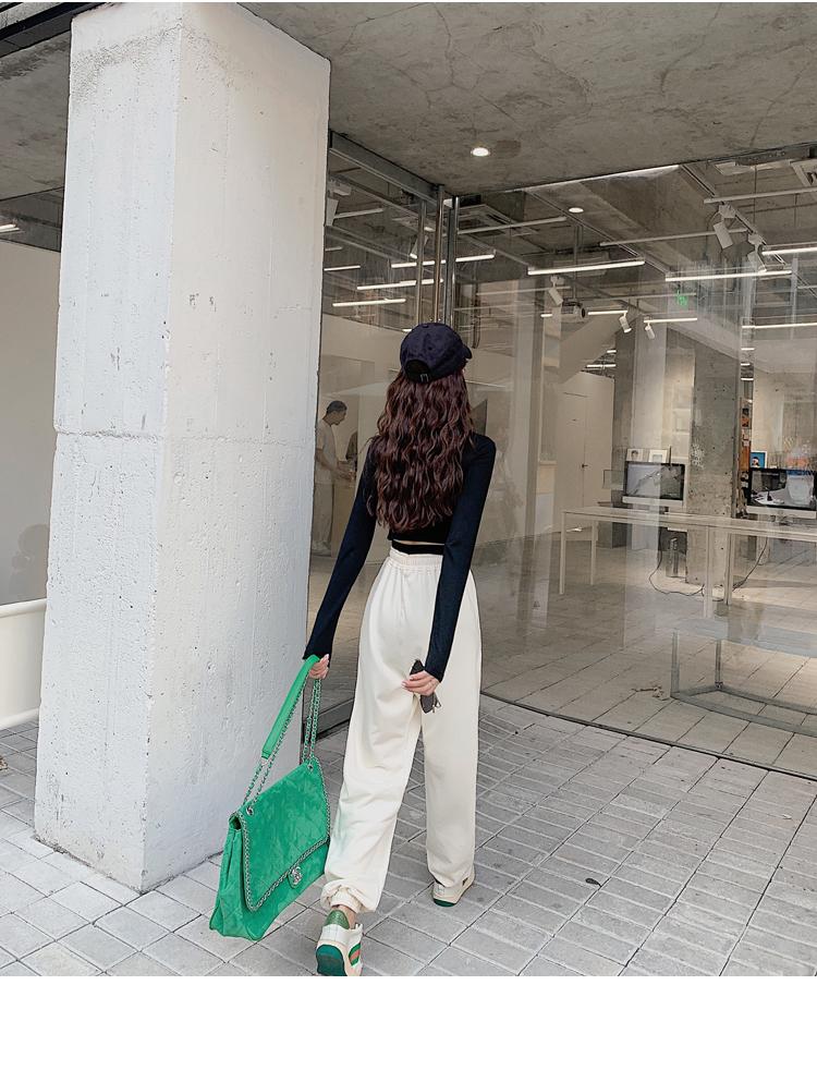 韓国 ファッション パンツ ボトムス 春 夏 カジュアル PTXJ586  ワイド 裾リブ ゆったり スウェット 着回し オルチャン シンプル 定番 セレカジの写真12枚目