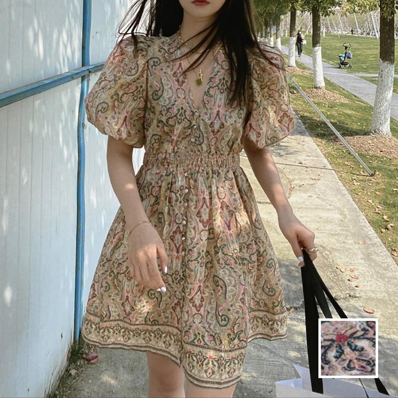韓国 ファッション ワンピース 春 夏 秋 カジュアル PTXJ589  パフスリーブ 深Vネック くすみカラー ミニ オルチャン シンプル 定番 セレカジの写真1枚目
