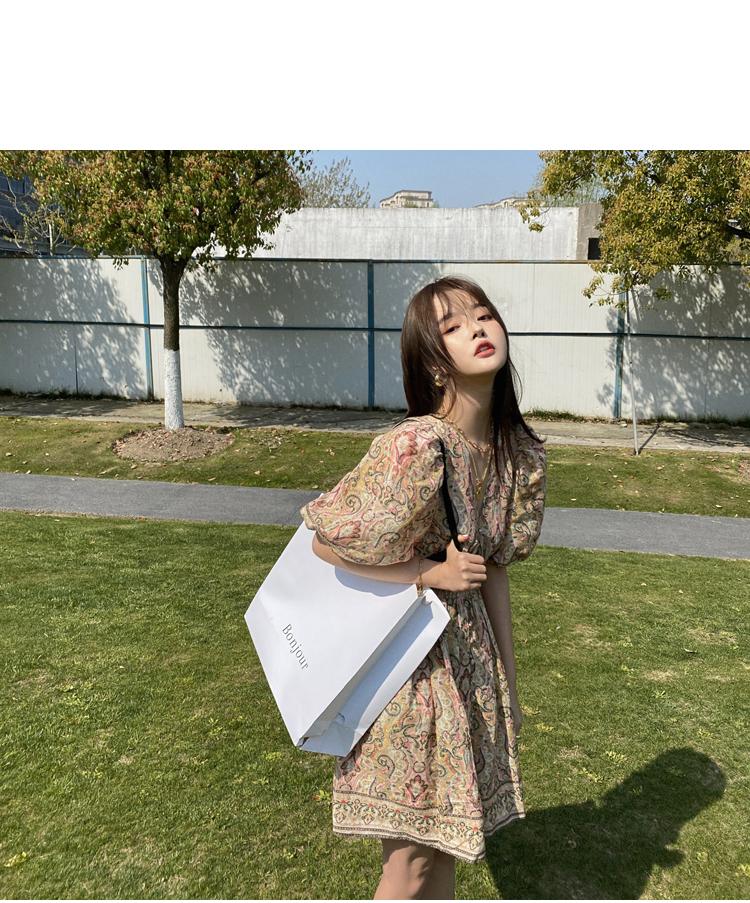 韓国 ファッション ワンピース 春 夏 秋 カジュアル PTXJ589  パフスリーブ 深Vネック くすみカラー ミニ オルチャン シンプル 定番 セレカジの写真4枚目