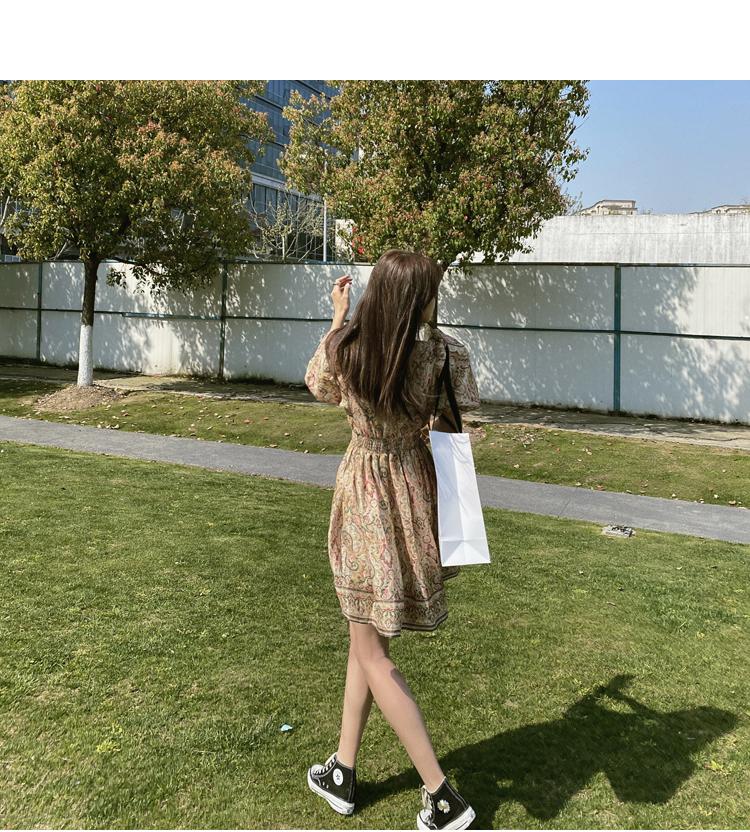 韓国 ファッション ワンピース 春 夏 秋 カジュアル PTXJ589  パフスリーブ 深Vネック くすみカラー ミニ オルチャン シンプル 定番 セレカジの写真10枚目
