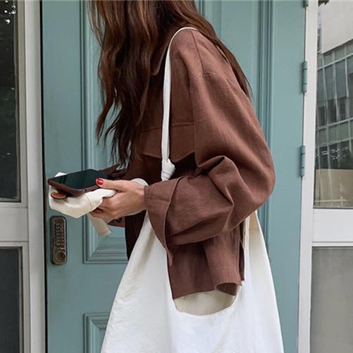 韓国 ファッション アウター ジャケット 春 夏 秋 カジュアル PTXJ599  薄手 シャツジャケット リネン風 羽織り オルチャン シンプル 定番 セレカジの写真2枚目