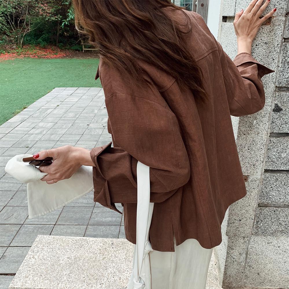 韓国 ファッション アウター ジャケット 春 夏 秋 カジュアル PTXJ599  薄手 シャツジャケット リネン風 羽織り オルチャン シンプル 定番 セレカジの写真3枚目