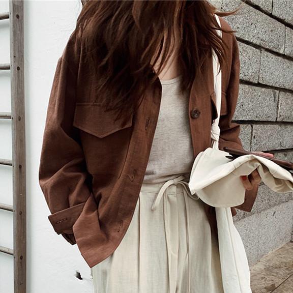 韓国 ファッション アウター ジャケット 春 夏 秋 カジュアル PTXJ599  薄手 シャツジャケット リネン風 羽織り オルチャン シンプル 定番 セレカジの写真4枚目
