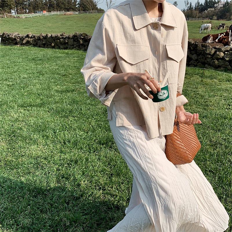韓国 ファッション アウター ジャケット 春 夏 秋 カジュアル PTXJ599  薄手 シャツジャケット リネン風 羽織り オルチャン シンプル 定番 セレカジの写真8枚目
