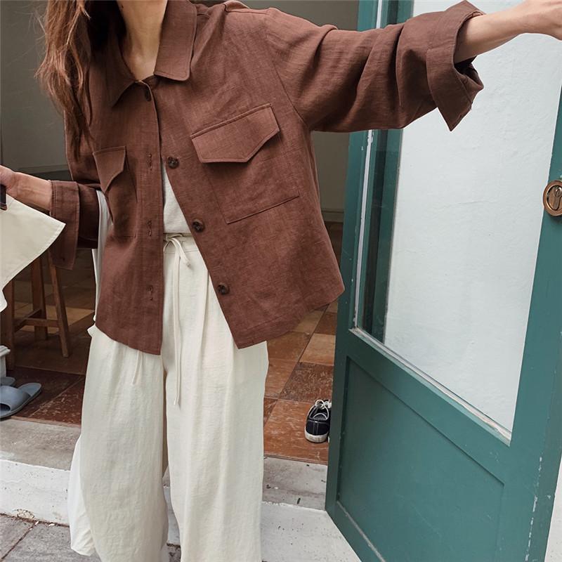 韓国 ファッション アウター ジャケット 春 夏 秋 カジュアル PTXJ599  薄手 シャツジャケット リネン風 羽織り オルチャン シンプル 定番 セレカジの写真14枚目