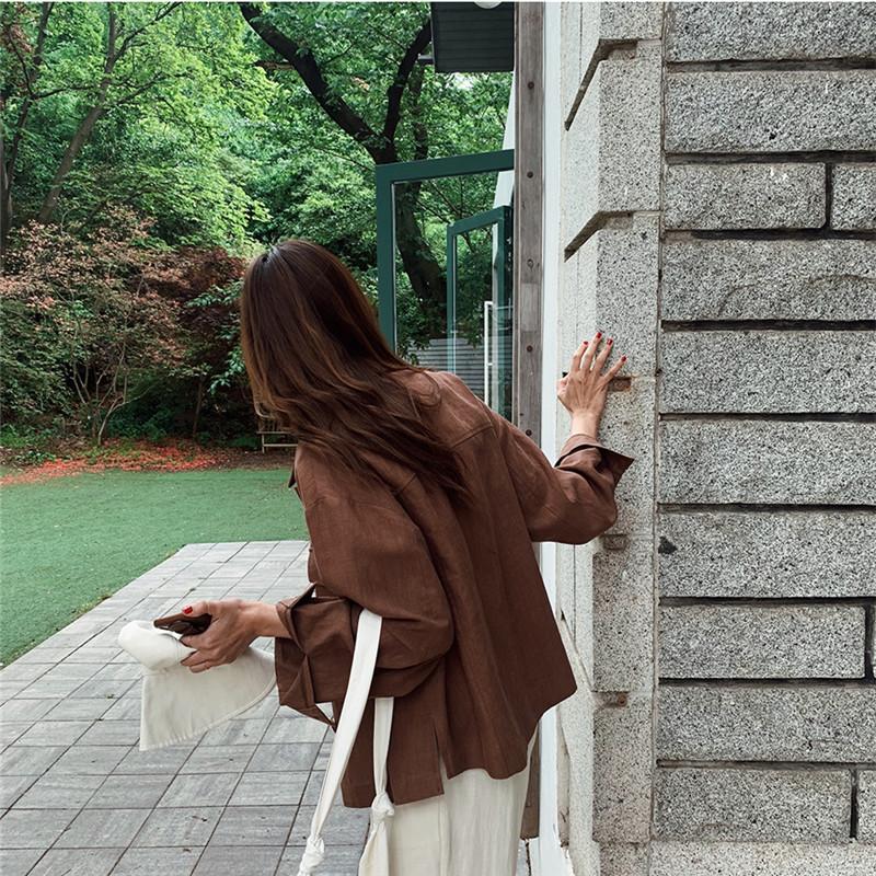 韓国 ファッション アウター ジャケット 春 夏 秋 カジュアル PTXJ599  薄手 シャツジャケット リネン風 羽織り オルチャン シンプル 定番 セレカジの写真15枚目