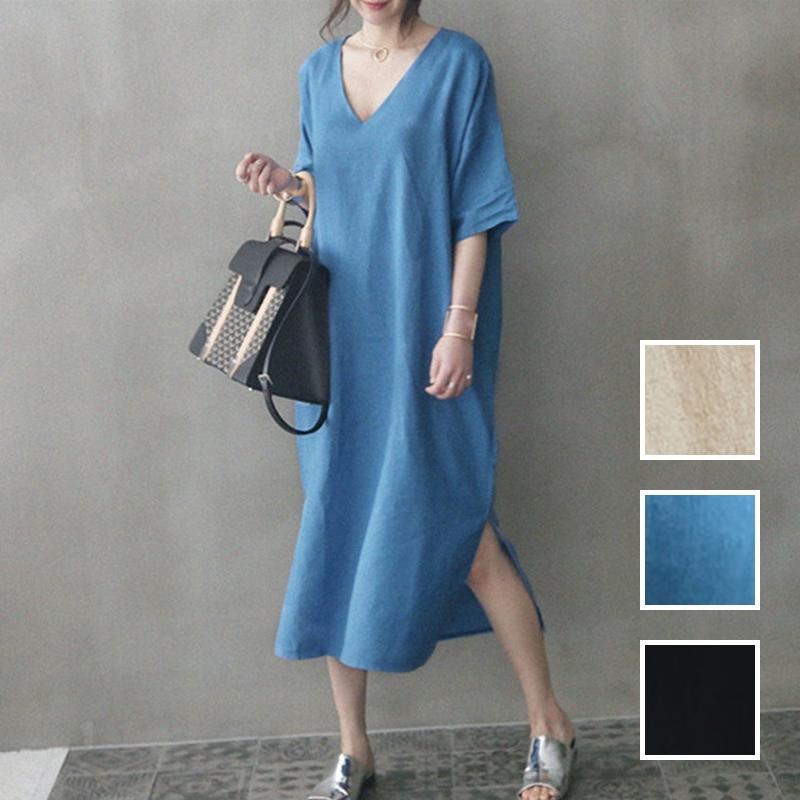 韓国 ファッション ワンピース 春 夏 カジュアル PTXJ607  リネン風 オーバーサイズ レイヤード ゆったり オルチャン シンプル 定番 セレカジの写真1枚目