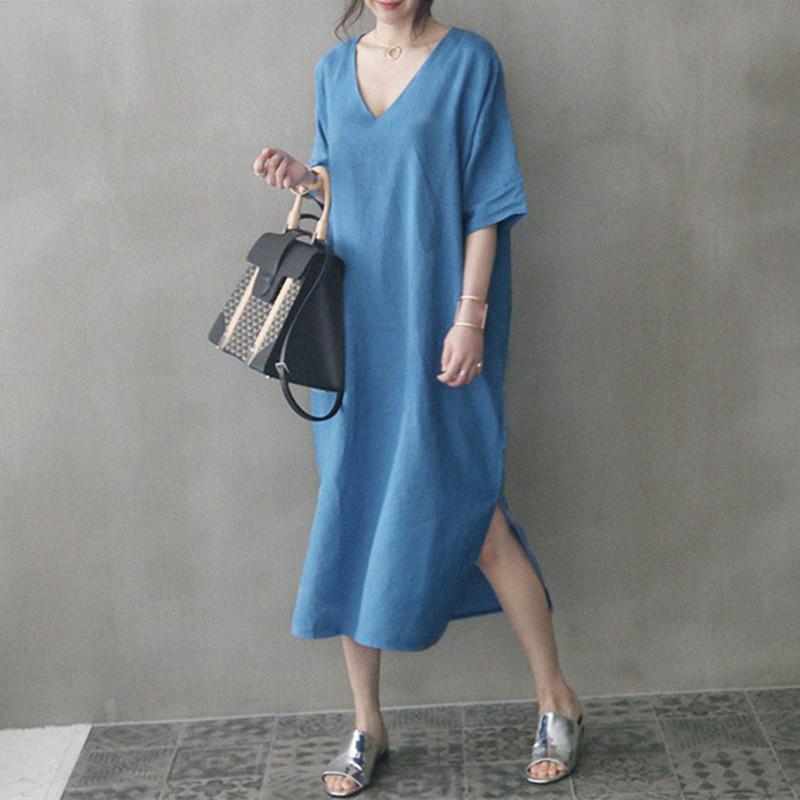 韓国 ファッション ワンピース 春 夏 カジュアル PTXJ607  リネン風 オーバーサイズ レイヤード ゆったり オルチャン シンプル 定番 セレカジの写真2枚目