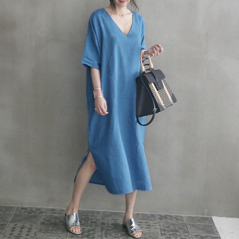 韓国 ファッション ワンピース 春 夏 カジュアル PTXJ607  リネン風 オーバーサイズ レイヤード ゆったり オルチャン シンプル 定番 セレカジの写真3枚目