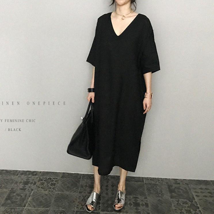 韓国 ファッション ワンピース 春 夏 カジュアル PTXJ607  リネン風 オーバーサイズ レイヤード ゆったり オルチャン シンプル 定番 セレカジの写真5枚目