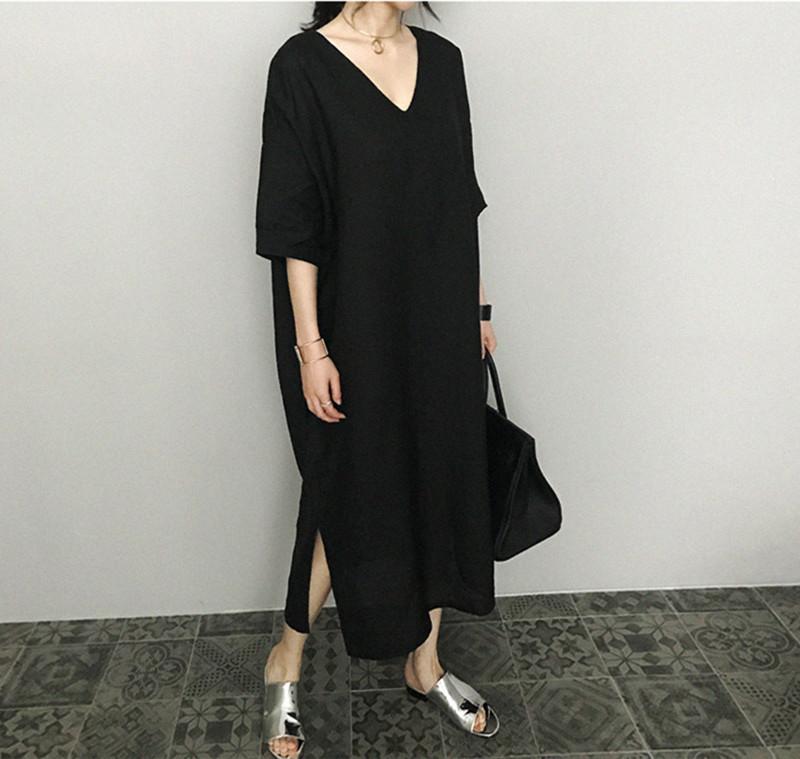 韓国 ファッション ワンピース 春 夏 カジュアル PTXJ607  リネン風 オーバーサイズ レイヤード ゆったり オルチャン シンプル 定番 セレカジの写真6枚目