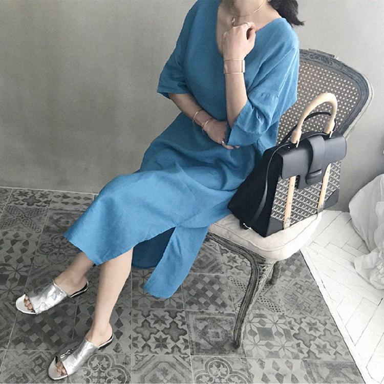 韓国 ファッション ワンピース 春 夏 カジュアル PTXJ607  リネン風 オーバーサイズ レイヤード ゆったり オルチャン シンプル 定番 セレカジの写真7枚目