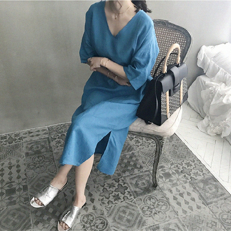 韓国 ファッション ワンピース 春 夏 カジュアル PTXJ607  リネン風 オーバーサイズ レイヤード ゆったり オルチャン シンプル 定番 セレカジの写真8枚目