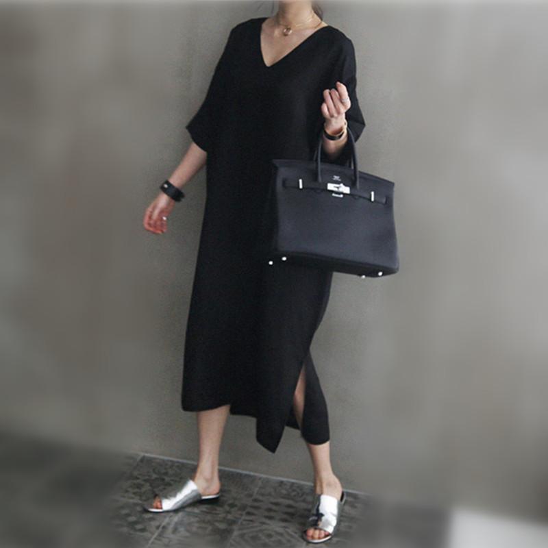 韓国 ファッション ワンピース 春 夏 カジュアル PTXJ607  リネン風 オーバーサイズ レイヤード ゆったり オルチャン シンプル 定番 セレカジの写真10枚目