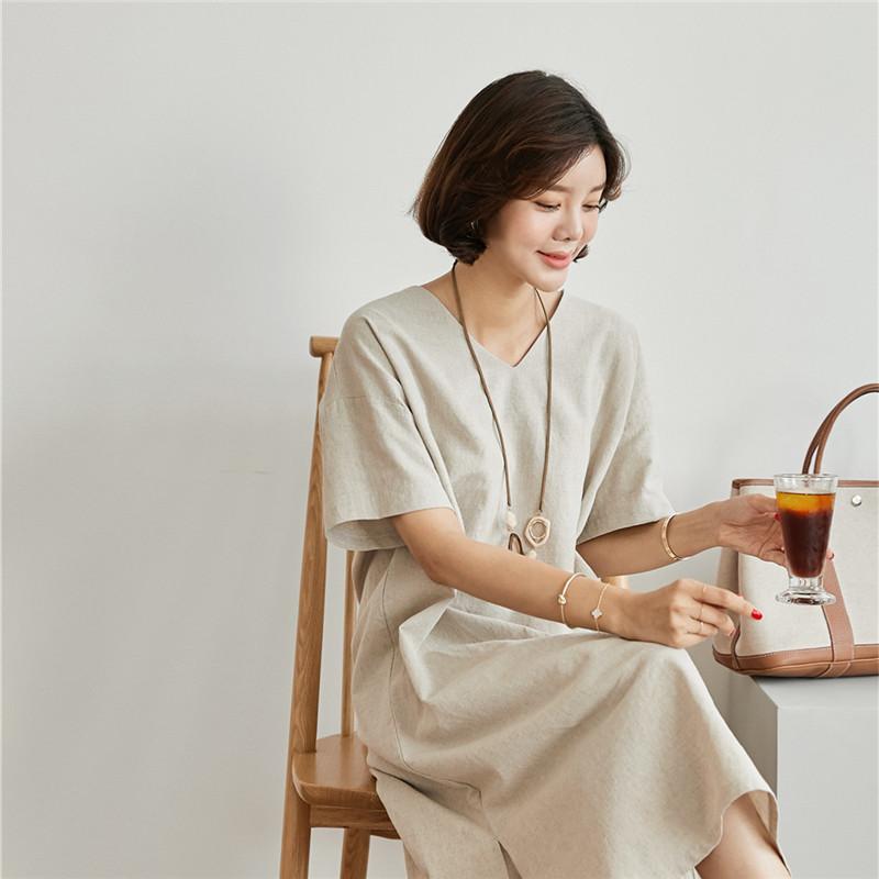 韓国 ファッション ワンピース 春 夏 カジュアル PTXJ607  リネン風 オーバーサイズ レイヤード ゆったり オルチャン シンプル 定番 セレカジの写真14枚目