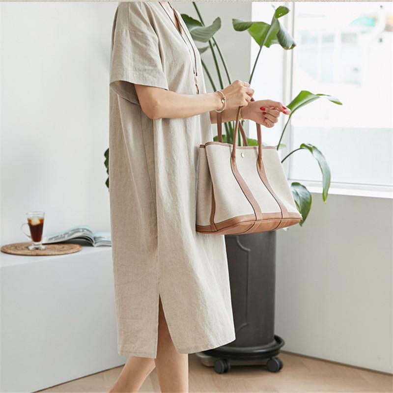 韓国 ファッション ワンピース 春 夏 カジュアル PTXJ607  リネン風 オーバーサイズ レイヤード ゆったり オルチャン シンプル 定番 セレカジの写真15枚目
