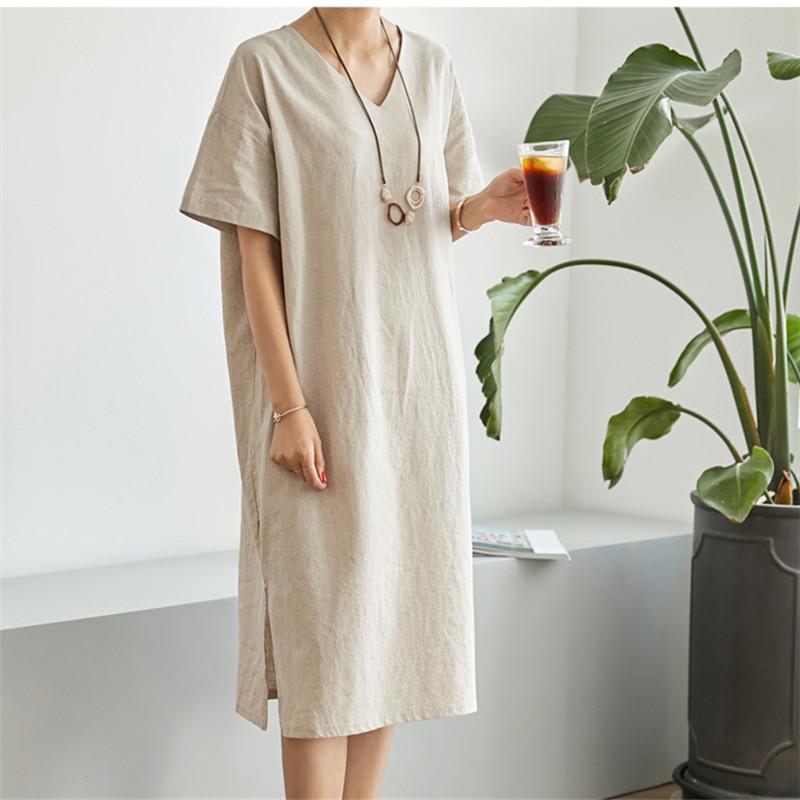 韓国 ファッション ワンピース 春 夏 カジュアル PTXJ607  リネン風 オーバーサイズ レイヤード ゆったり オルチャン シンプル 定番 セレカジの写真16枚目