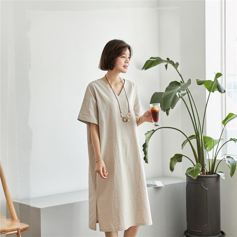 韓国 ファッション ワンピース 春 夏 カジュアル PTXJ607  リネン風 オーバーサイズ レイヤード ゆったり オルチャン シンプル 定番 セレカジの写真17枚目