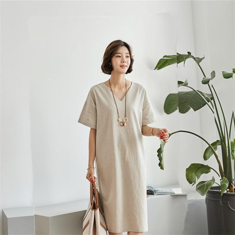 韓国 ファッション ワンピース 春 夏 カジュアル PTXJ607  リネン風 オーバーサイズ レイヤード ゆったり オルチャン シンプル 定番 セレカジの写真18枚目