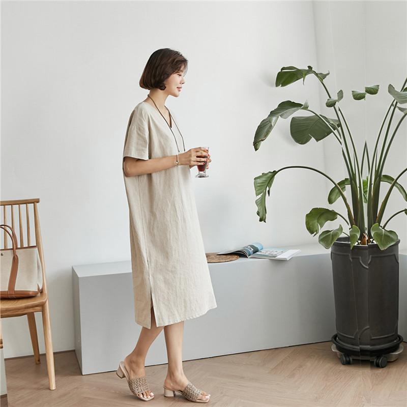 韓国 ファッション ワンピース 春 夏 カジュアル PTXJ607  リネン風 オーバーサイズ レイヤード ゆったり オルチャン シンプル 定番 セレカジの写真19枚目