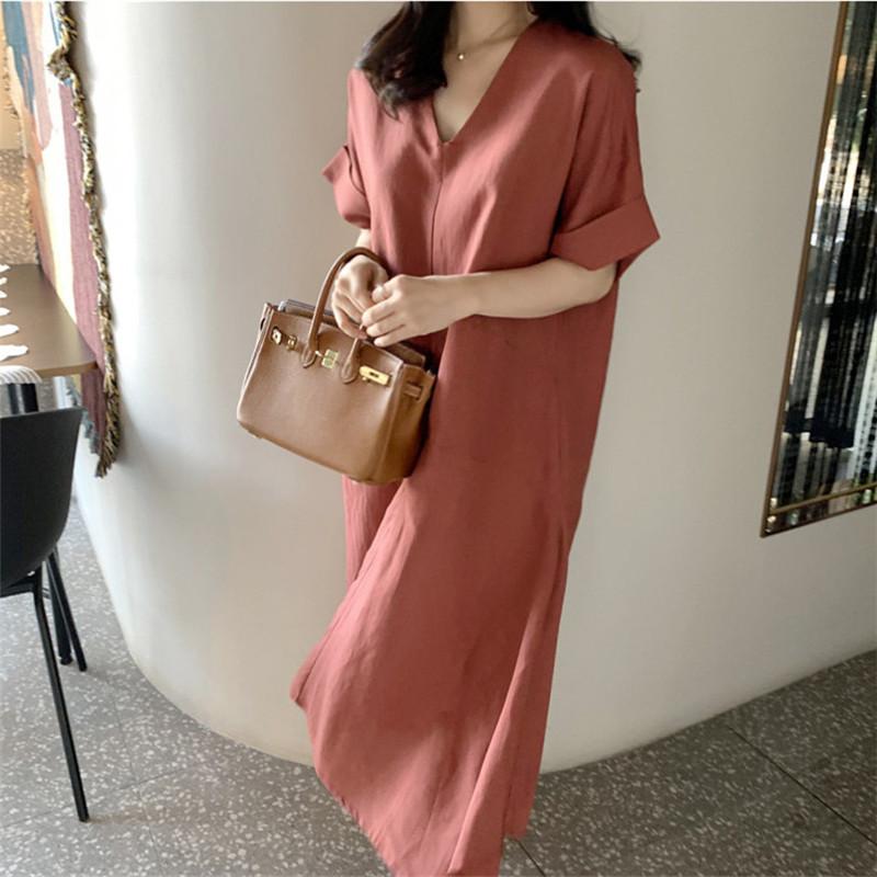 韓国 ファッション ワンピース 春 夏 カジュアル PTXJ608  ゆったり ナチュラルテイスト イレギュラーヘム オルチャン シンプル 定番 セレカジの写真2枚目