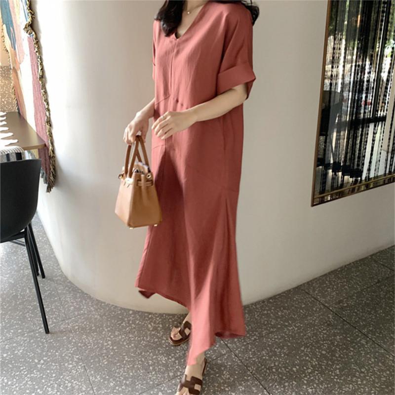 韓国 ファッション ワンピース 春 夏 カジュアル PTXJ608  ゆったり ナチュラルテイスト イレギュラーヘム オルチャン シンプル 定番 セレカジの写真6枚目