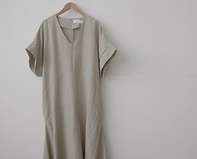 韓国 ファッション ワンピース 春 夏 カジュアル PTXJ608  ゆったり ナチュラルテイスト イレギュラーヘム オルチャン シンプル 定番 セレカジの写真15枚目