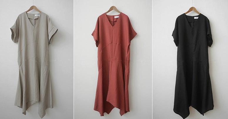 韓国 ファッション ワンピース 春 夏 カジュアル PTXJ608  ゆったり ナチュラルテイスト イレギュラーヘム オルチャン シンプル 定番 セレカジの写真20枚目