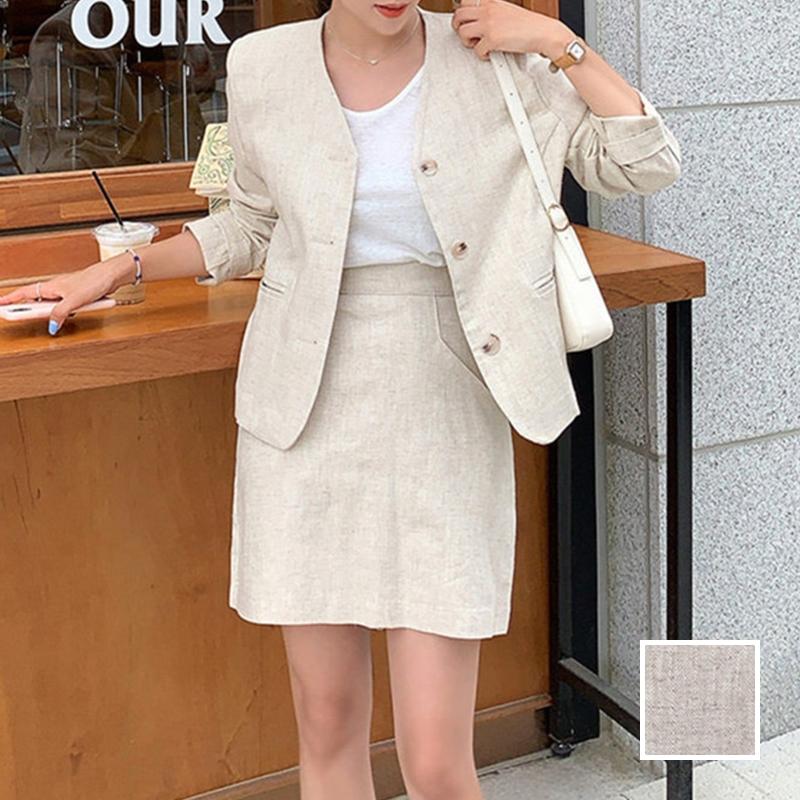 韓国 ファッション セットアップ 春 夏 カジュアル PTXJ614  リネン風 ノーカラー ミニスカート スーツ オルチャン シンプル 定番 セレカジの写真1枚目