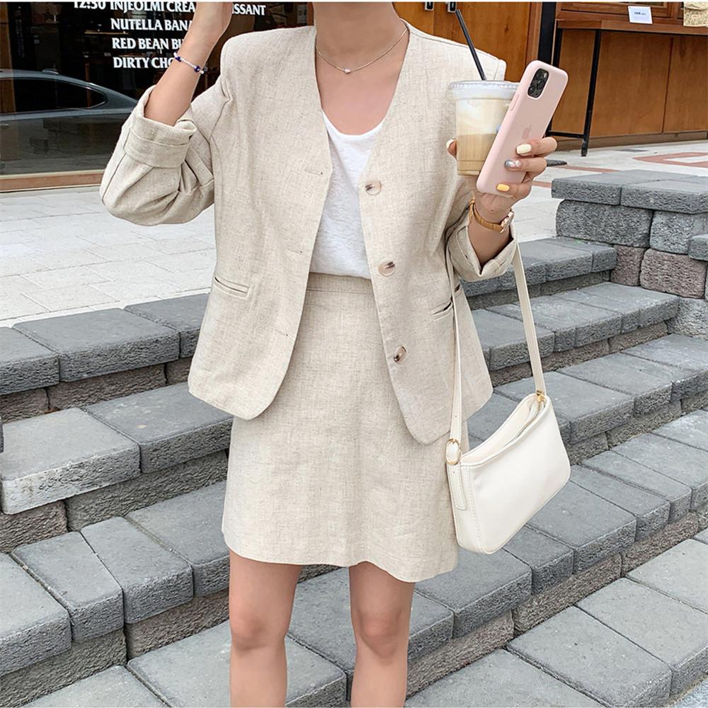 韓国 ファッション セットアップ 春 夏 カジュアル PTXJ614  リネン風 ノーカラー ミニスカート スーツ オルチャン シンプル 定番 セレカジの写真2枚目