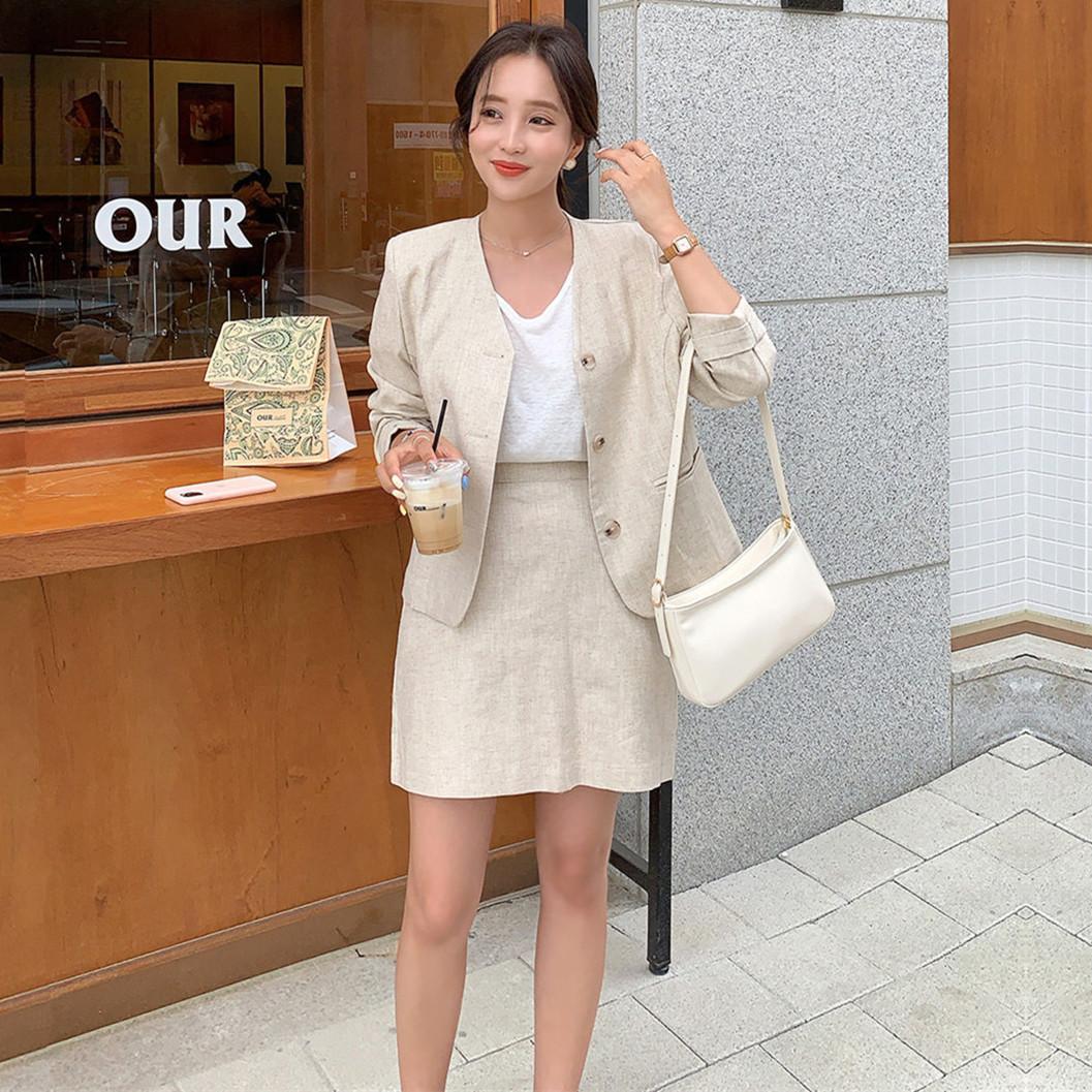 韓国 ファッション セットアップ 春 夏 カジュアル PTXJ614  リネン風 ノーカラー ミニスカート スーツ オルチャン シンプル 定番 セレカジの写真4枚目