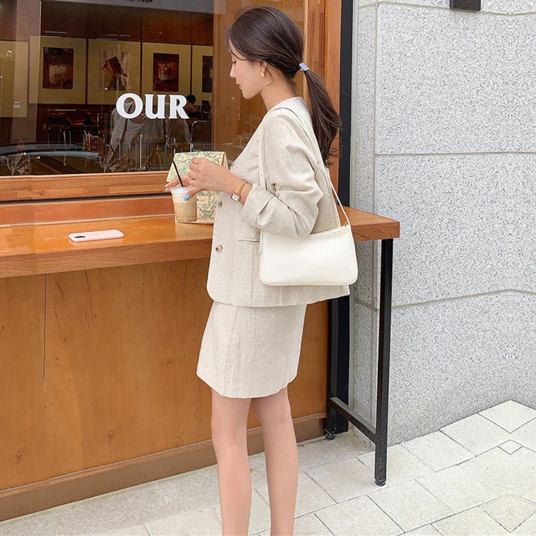 韓国 ファッション セットアップ 春 夏 カジュアル PTXJ614  リネン風 ノーカラー ミニスカート スーツ オルチャン シンプル 定番 セレカジの写真5枚目
