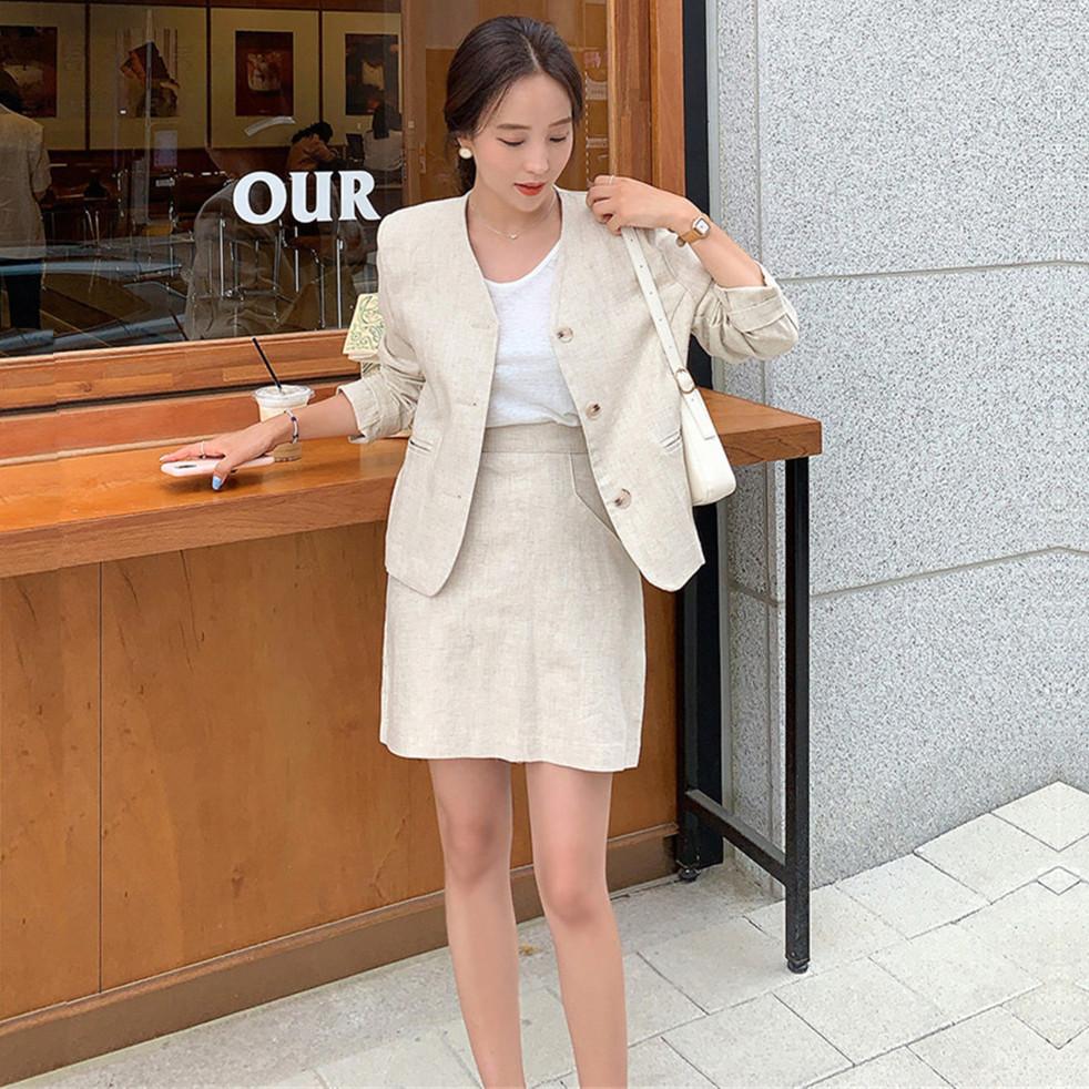 韓国 ファッション セットアップ 春 夏 カジュアル PTXJ614  リネン風 ノーカラー ミニスカート スーツ オルチャン シンプル 定番 セレカジの写真6枚目