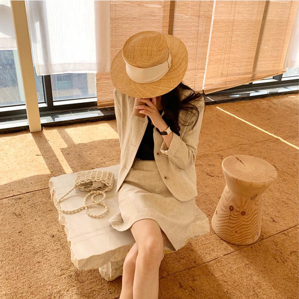 韓国 ファッション セットアップ 春 夏 カジュアル PTXJ614  リネン風 ノーカラー ミニスカート スーツ オルチャン シンプル 定番 セレカジの写真7枚目